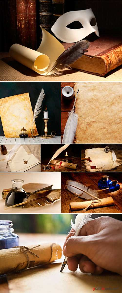 Stock Photo Old paper, scroll and quill pen on wooden paper with copy space