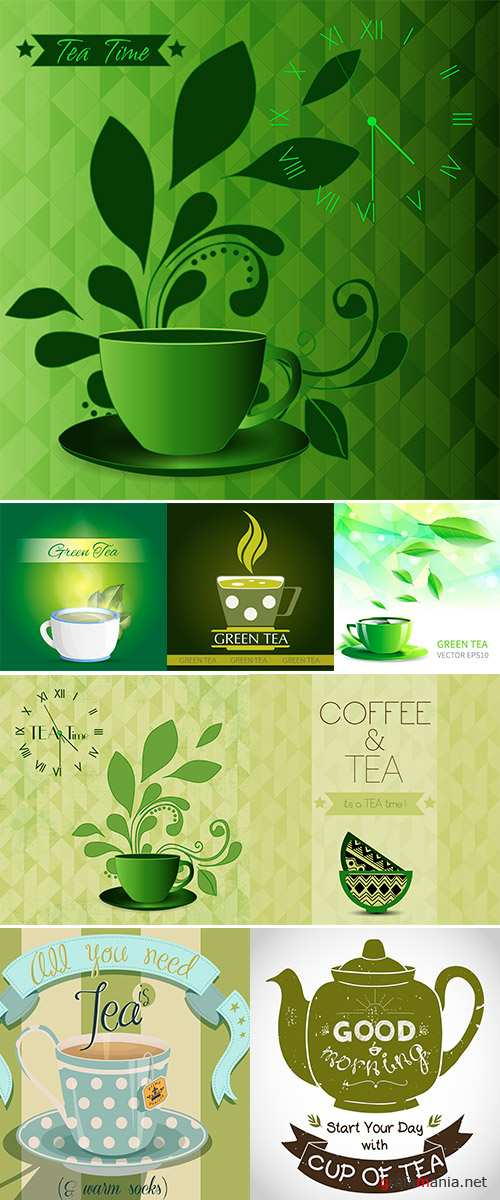 Vector illustration cup tea falling leaves, Stock Illustration