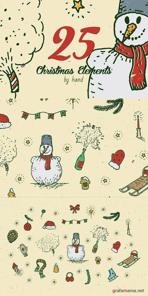 CreativeMarket 25 Christmas elements by hand vol.2