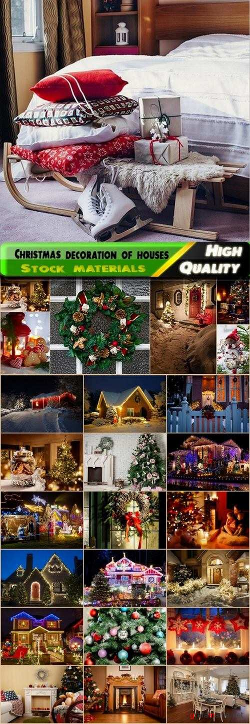 Christmas decoration of houses Stock images - 25 HQ Jpg