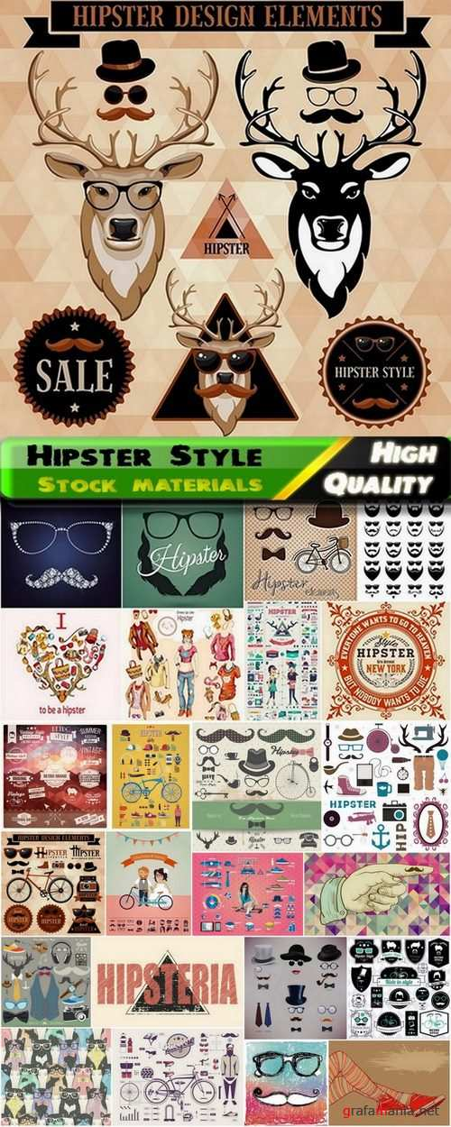 Hipster Style design elements in vector from stock #7 - 25 Eps