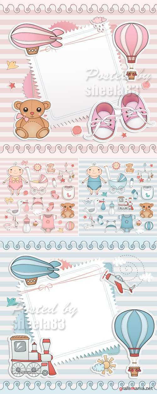 Baby Shower Cards Vector 3