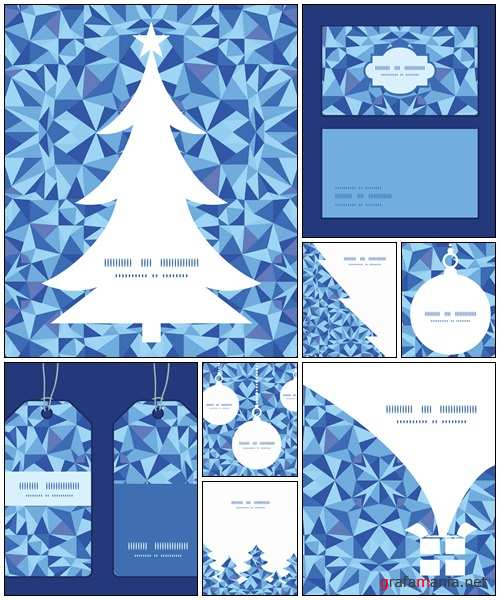 Vector blue triangle texture Christmas gift box silhouette - vector stock