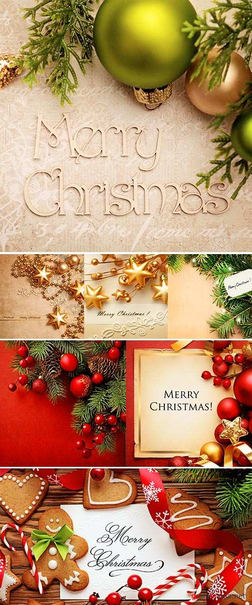 Stock Photo Christmas greeting card with decorative christmas ornaments