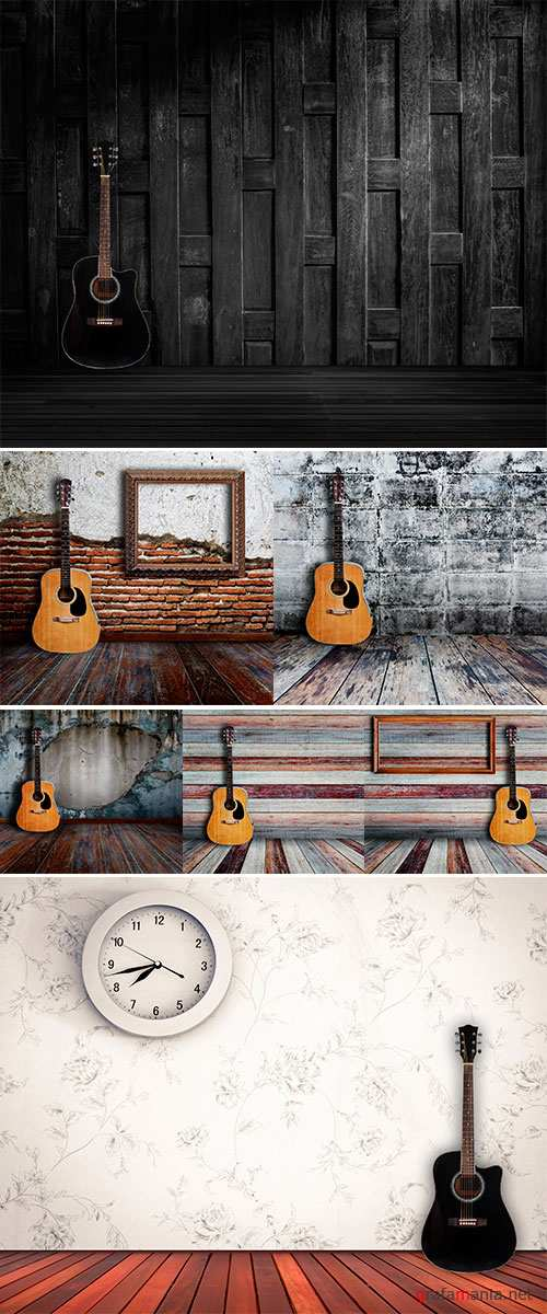 Stock Photo Guitar and picture frame in vintage wood room
