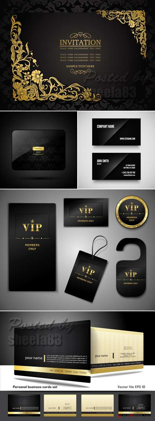 Black Business Cards Vector