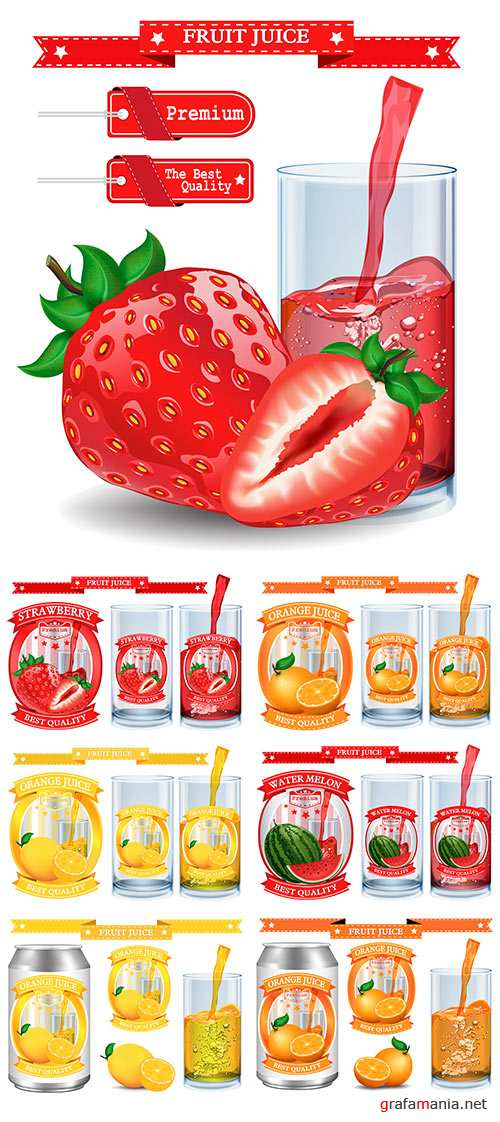 Stock Juice Label vector visual, ideal for fruit juice