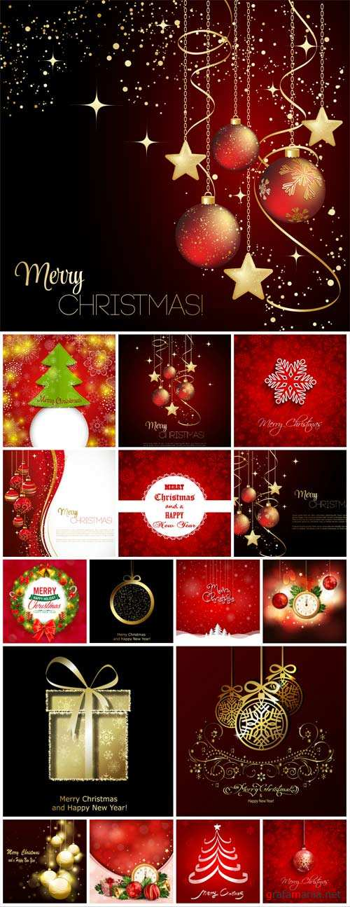 Christmas vector collection of backgrounds with Christmas trees and Christmas decorations