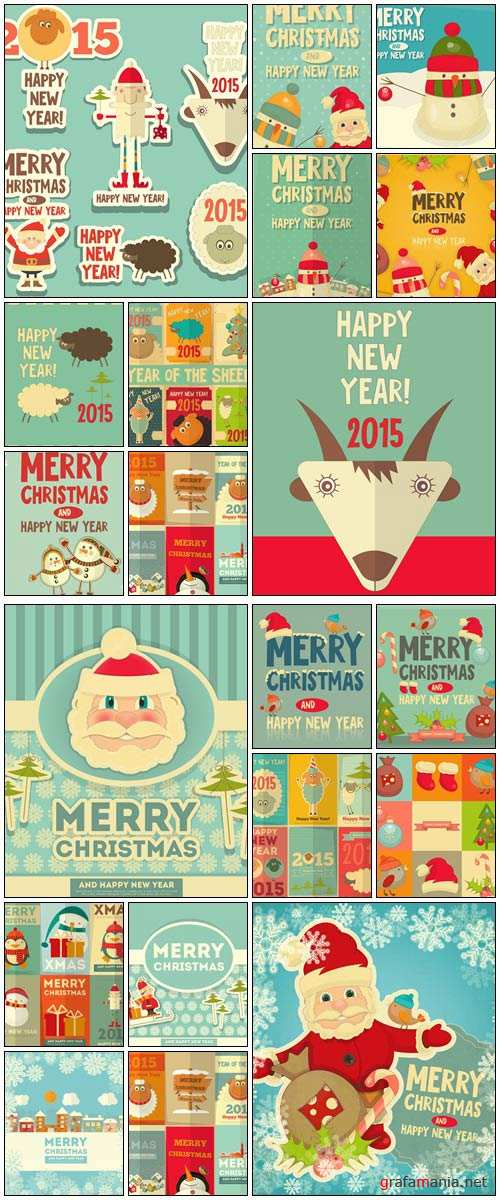 New Year Cards 2015 vintage - vector stock