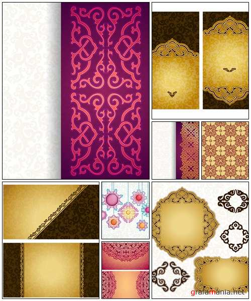 Card with gold ornament in east style - vector stock