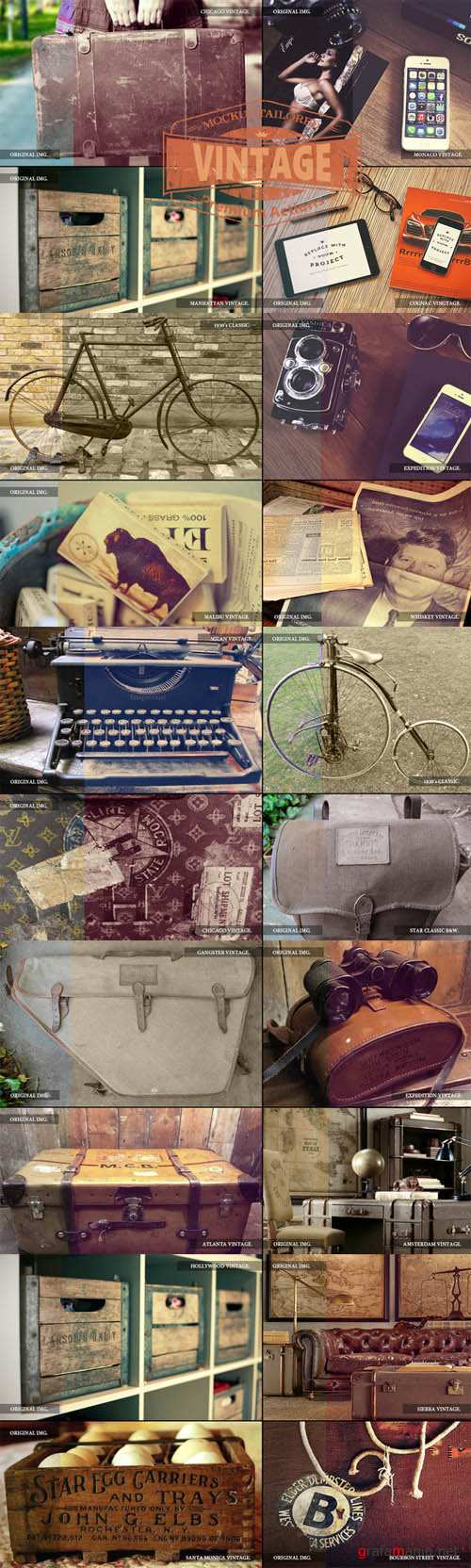 CreativeMarket - 33 Mockup Tailored Vintage Actions 59476