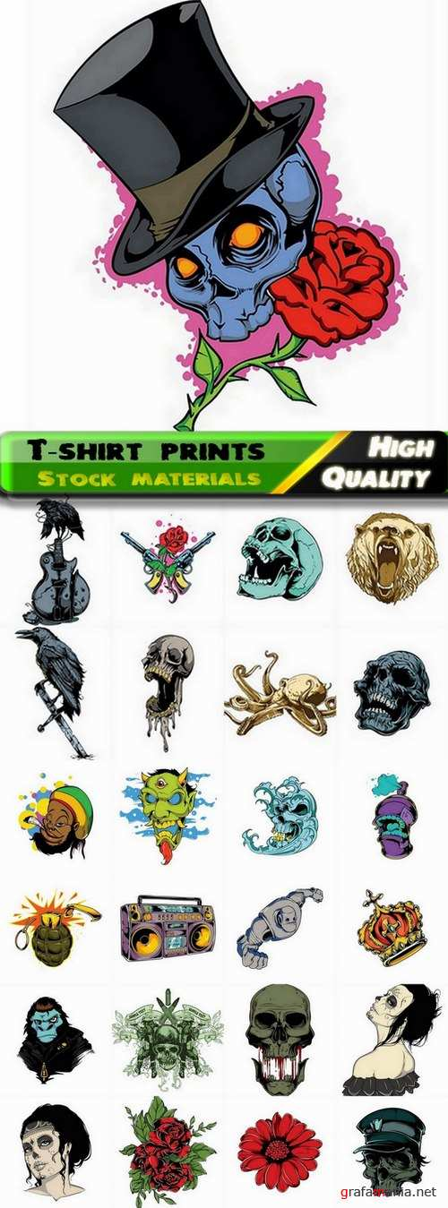 T-shirt prints design in vector from stock #26 - 24 Eps