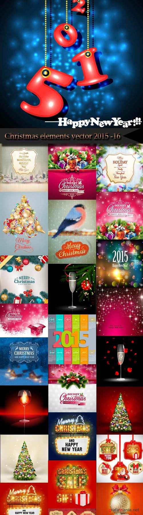 Christmas elements vector 2015 -16