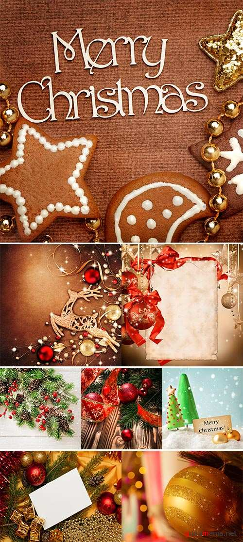 Stock Photo Christmas frame for greeting card with decorative christmas