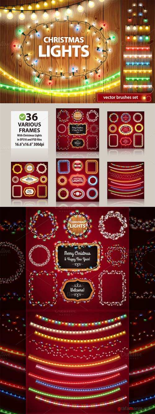 CreativeMarket Christmas Lights Decorations Set