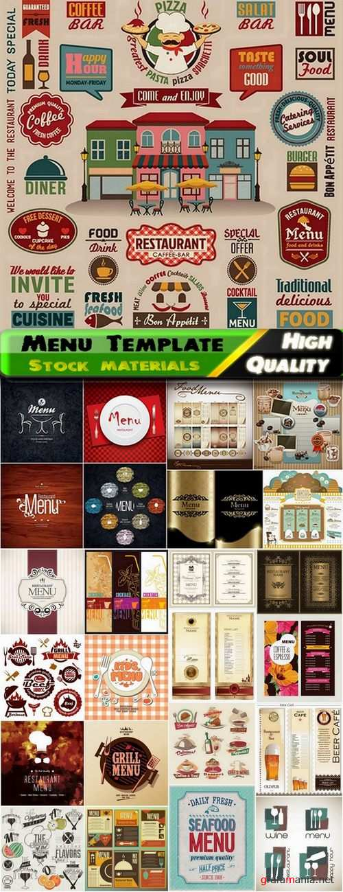 Menu Template design elements in vector from stock #10 - 25 Eps