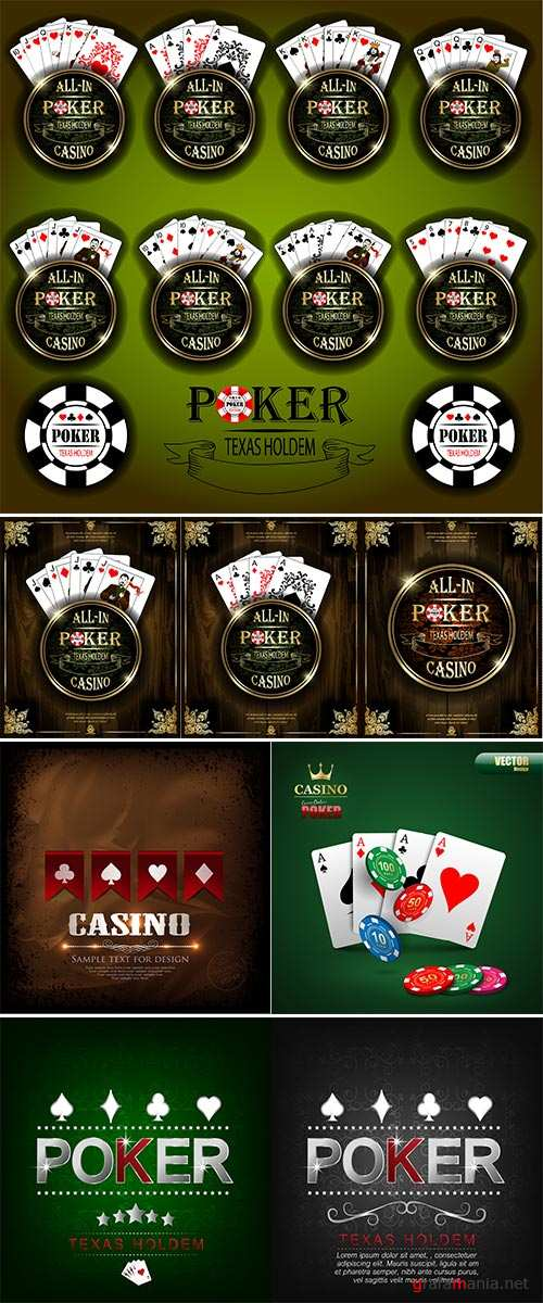 Stock Vector background, Poker and casino label