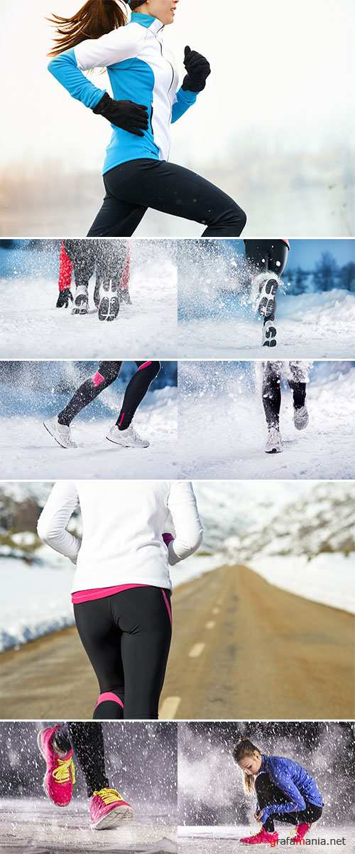 Winter running woman  -  Stock Image