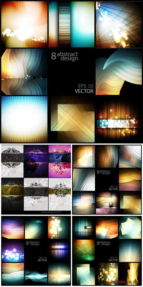 Vector backgrounds with abstraction, design elements