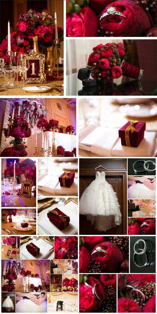 Wedding collages, wedding rings, flowers