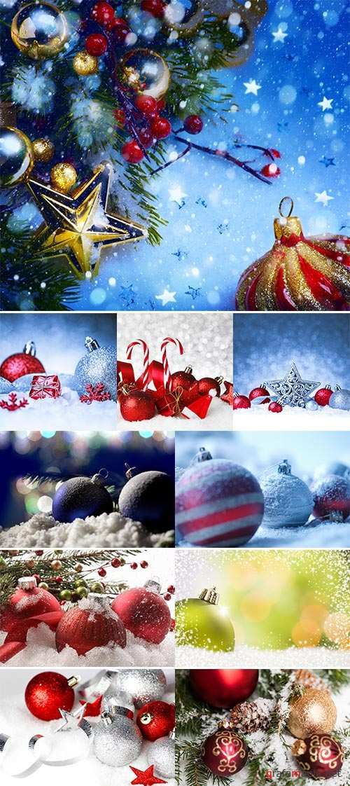 Christmas ornament in snow on glitter background  -  Stock Image