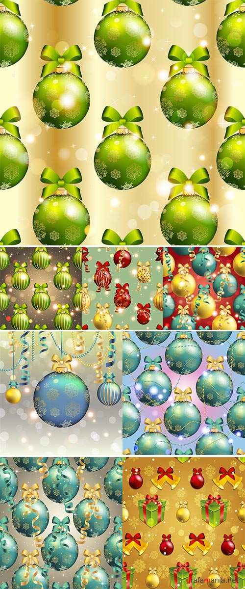 Stock New Year pattern with Christmas ball vector, Christmas wallpaper with bow and ribbon