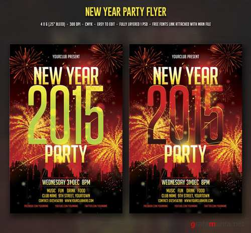 Flyer PSD - New Year Party