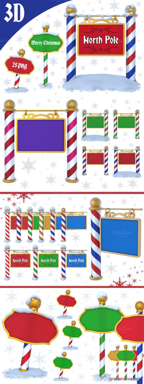 North Pole Sign - 3D PNG