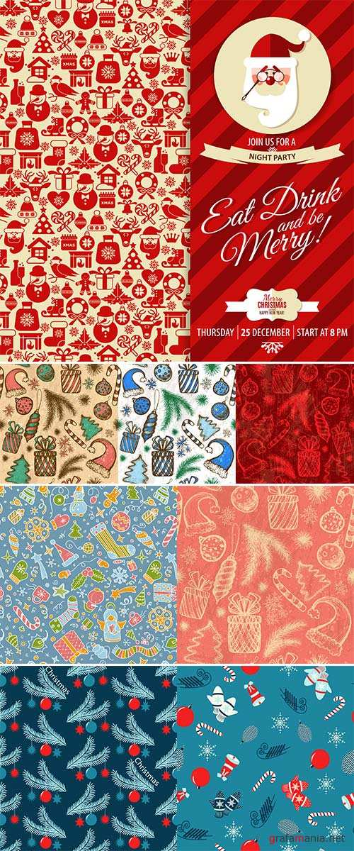 Stock Seamless christmas vector illustration background with Christmas symbols