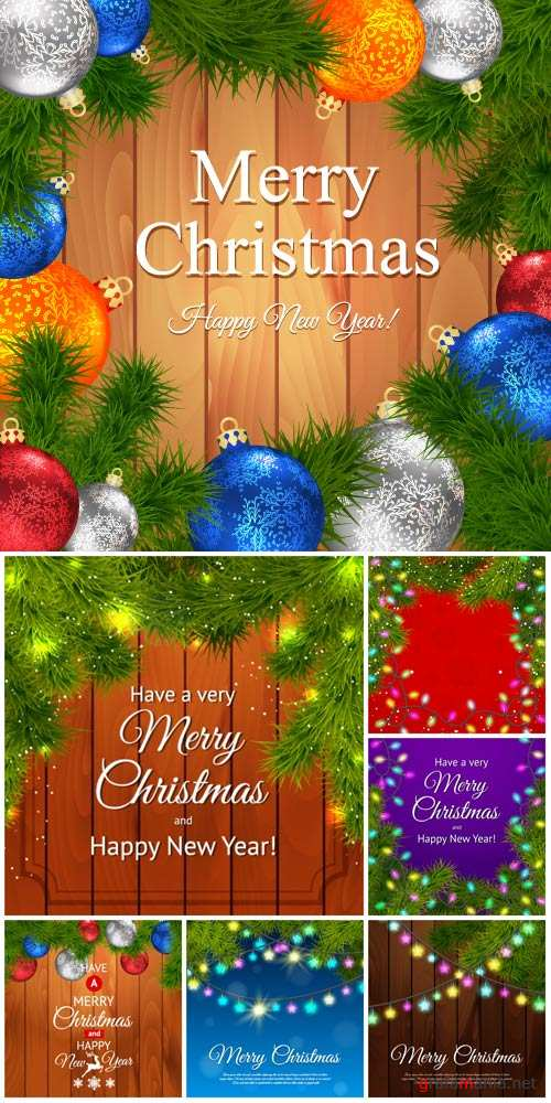 Christmas, New Year, vector backgrounds with garlands and Christmas tree