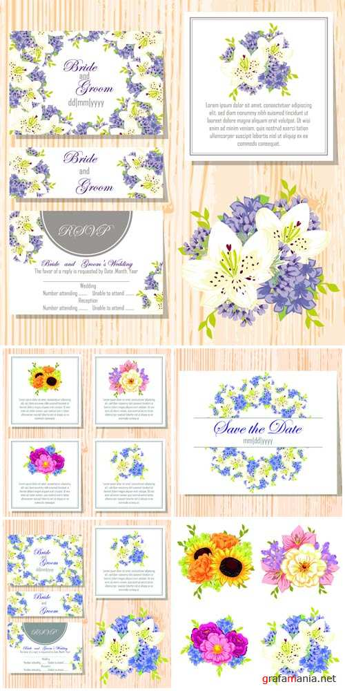 Wedding invitation with different colors, vector card