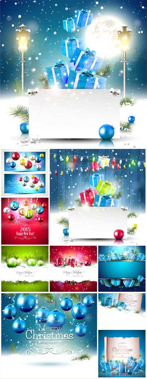 Christmas, new year, Christmas balls, gifts, backgrounds vector