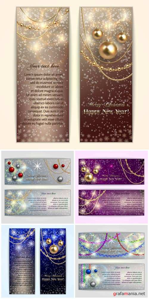 Christmas, New Year, vector card with shining balls