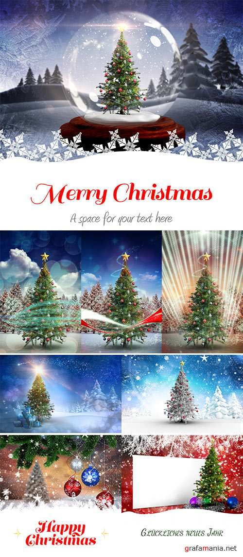 Stock Photo Composite image of christmas tree with falling snow