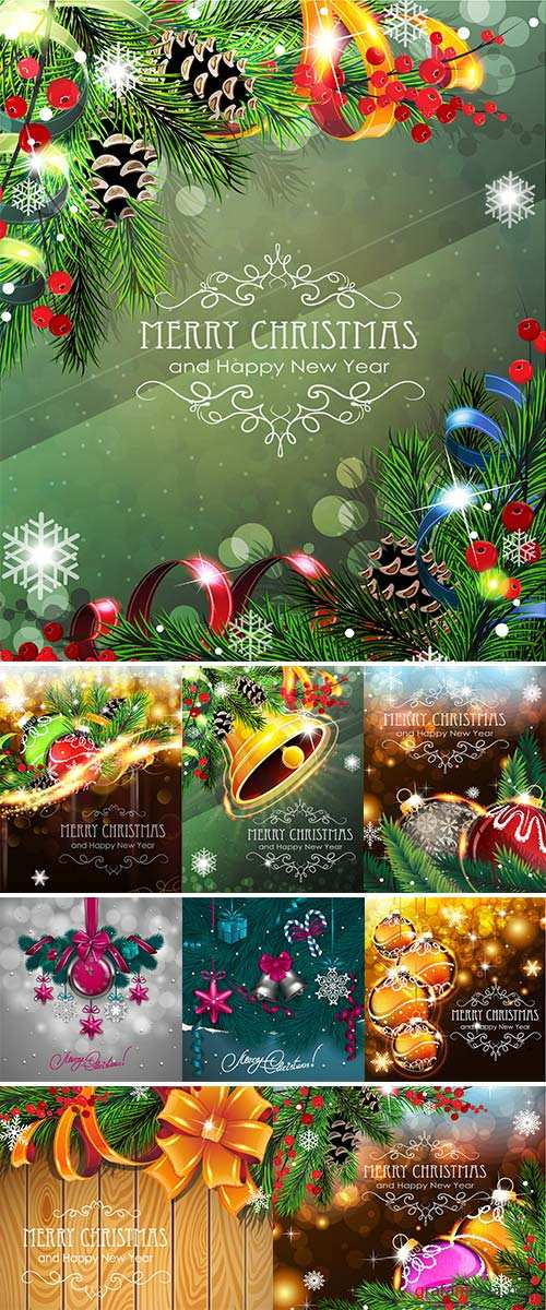 Stock Abstract holiday background with sparkles, Christmas balls and fir branches