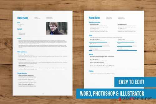 CreativeMarket - 2 Page CV Template easy to edit 77230