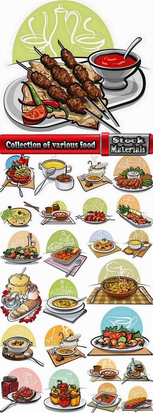 Collection of various food vector images #2-25 Eps