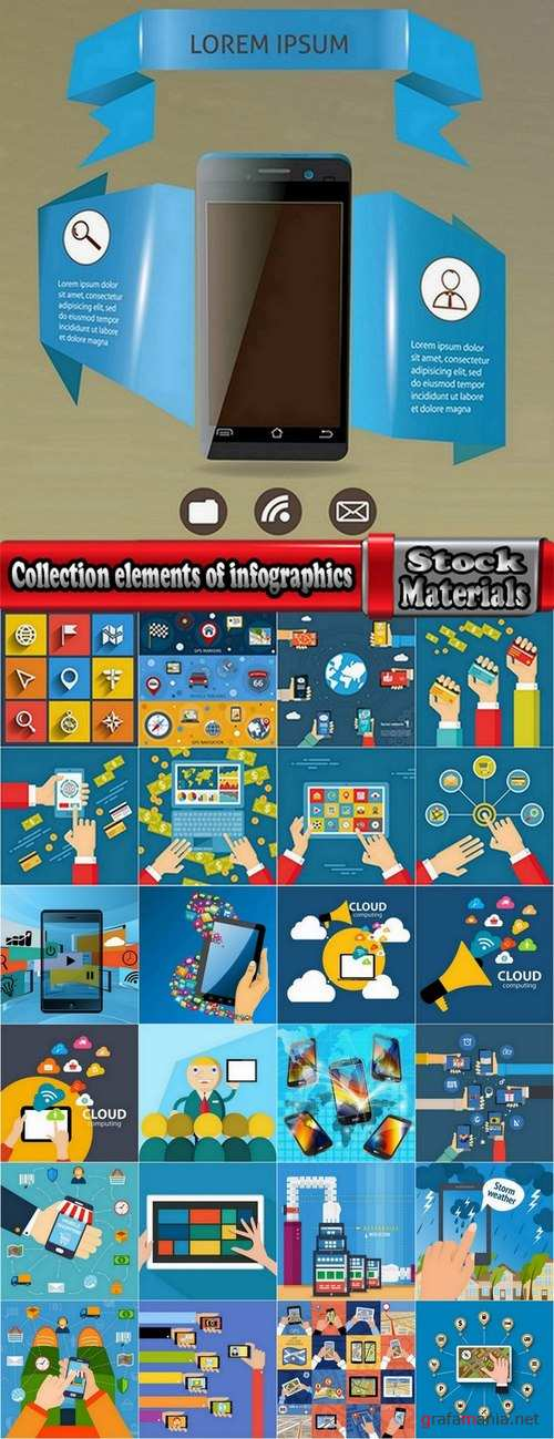 Collection elements of infographics vector image #11-25 Eps