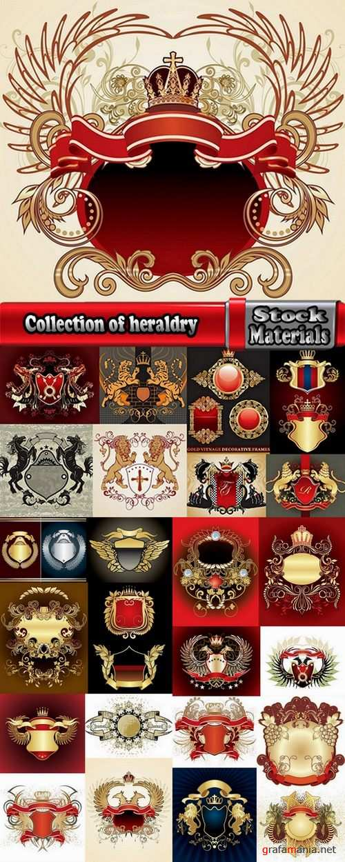 Collection of heraldry vector image 25 Eps
