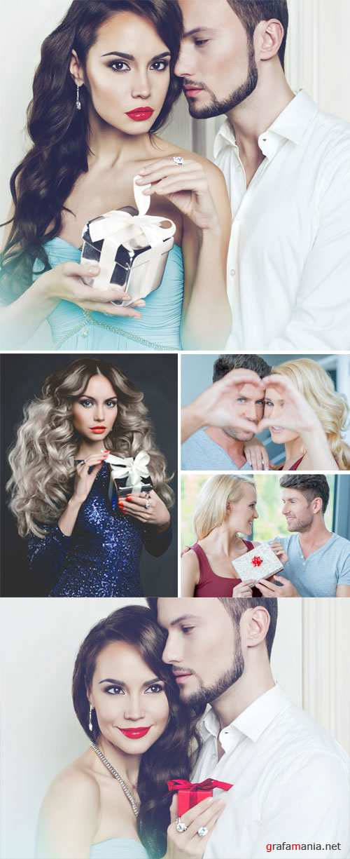 Couples, girl with a gift - Stock Photo