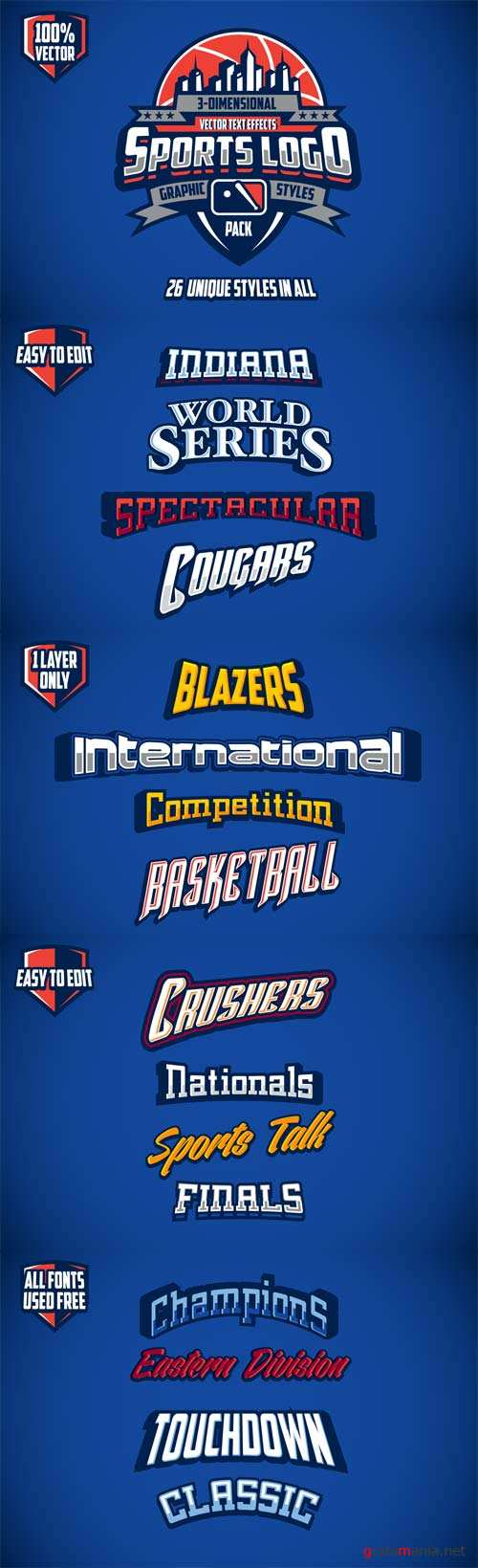 3D Sports Logo Graphic Styles Pack