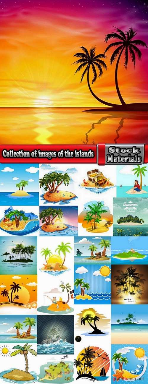 Collection of images of the islands vector image 25 Eps