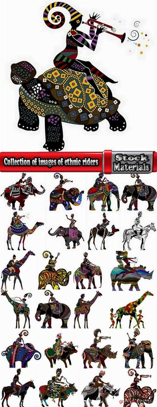 Collection of images of ethnic riders vector image 25 Eps