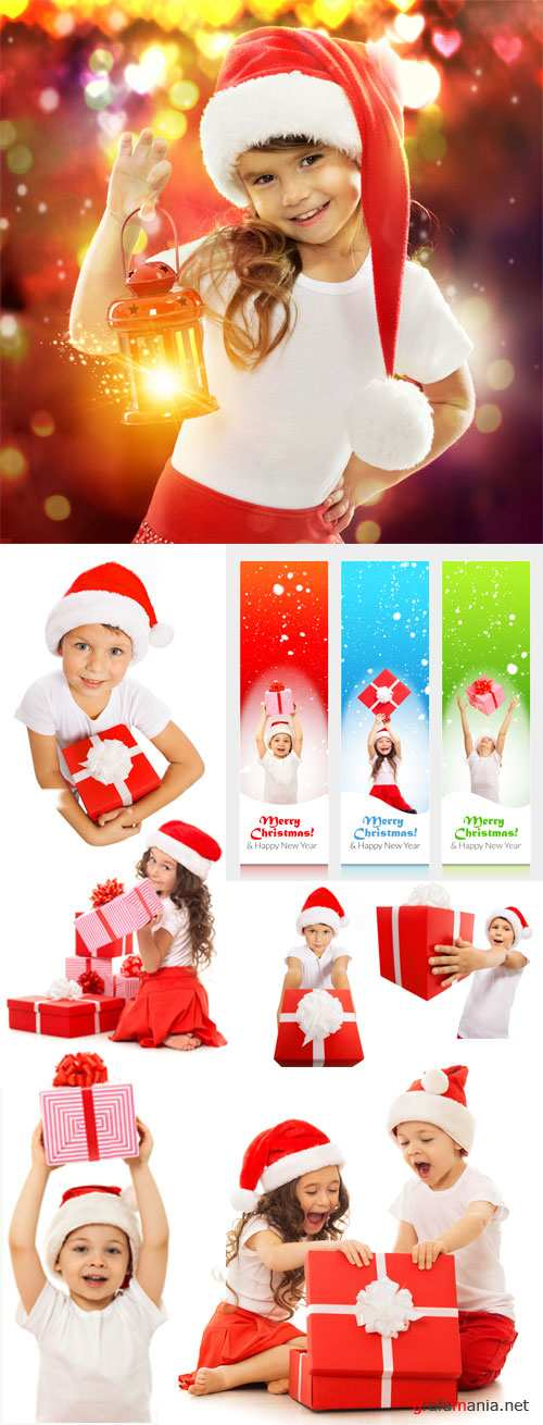 Children with New Year gifts, Christmas - stock photos