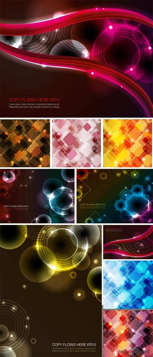 Vector backgrounds, abstract, sparkling lines and elements