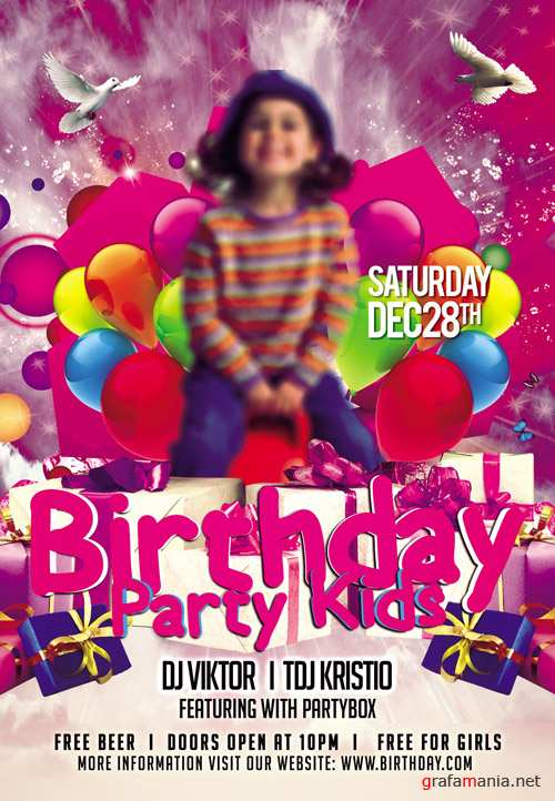 Flyer PSD Template - Birthday Party Kids