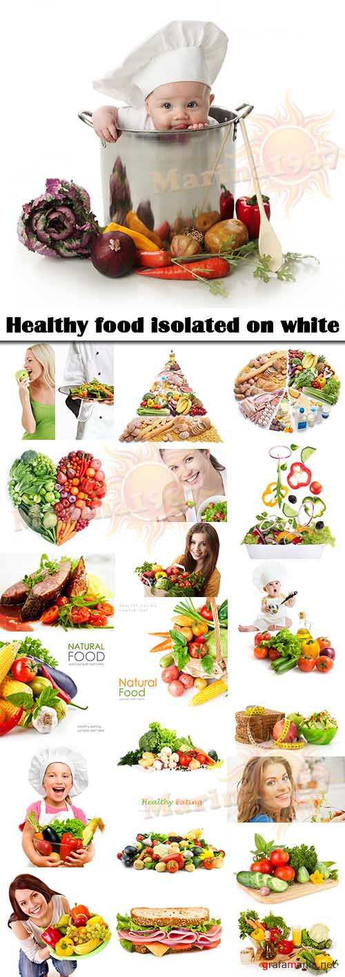 Healthy food isolated on white