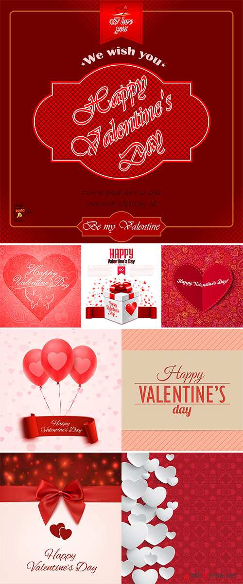 Stock Valentine's Day greeting card, love message on red ribbon on boken background
