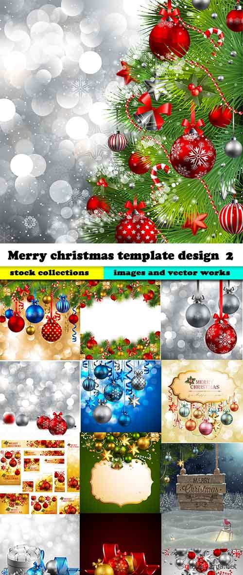 Merry christmas template design in vector #2