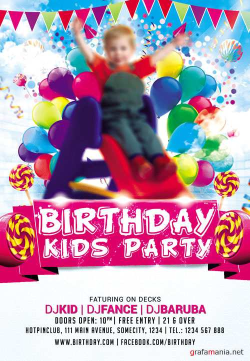 Flyer PSD Template - Kids Party